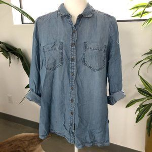 Pea in the Pod Denim Button Down Maternity Blouse
